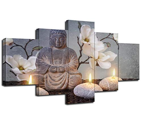 Buddha in Meditation Wall Decor Pictures for Living Room Bedroom Office Wall Art Candles and Flowers Poster Framed Canvas Prints Painting 5 Piece Artwork Decorations Ready to Hang (60''W×32''H)