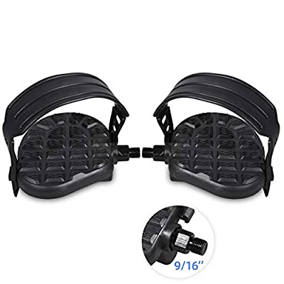 """DRBIKE Stationary Bike Pedals - 9/16"""" Bike Pedals for Spin Bike, Recumbent, Exerciser Bicycle with 1 Pair Adjustable Strap/Teo Clip, Black"""