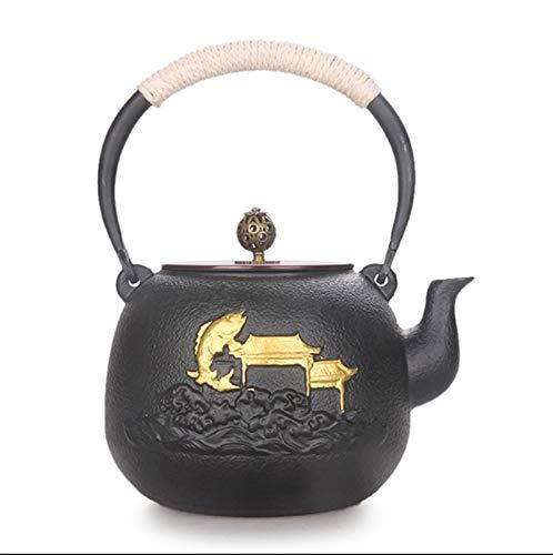 NCOEM Tetera Vintage para té a Granel China Hecha a Mano Hervidor de Hierro Hogar Kung Fu Tea Juego de té Pintado Oro de Oro Alza de la Carpa Que Salta sobre la Puerta del dragón 1.3l Negro.