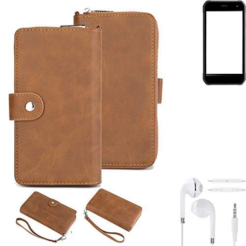 K-S-Trade® Handy-Schutz-Hülle Für -Cyrus CS 40- + Kopfhörer Portemonnee Tasche Wallet-Case Bookstyle-Etui Braun (1x)