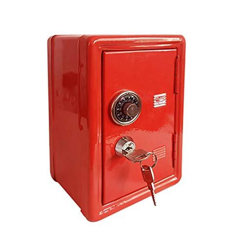 Mini Caja De Seguridad del Metal, Caja Roja Bloqueable del Cambio del Billete De Banco De La Moneda De Los Niños De La Hucha 0425C(Color:Rojo)