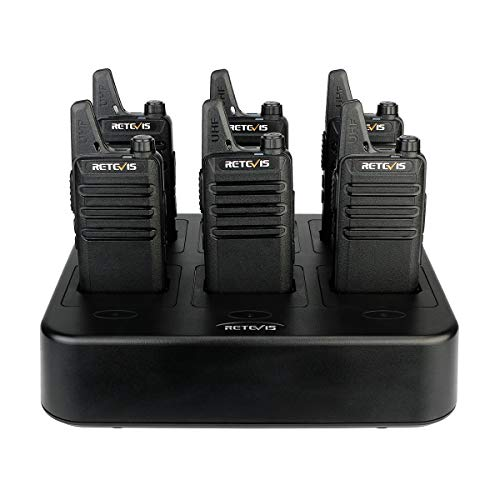Retevis RT22 Walkie Talkies Rechargeable Hands Free 2 Way Radios Two-Way Radio(6 Pack) with 6 Way Multi Gang Charger