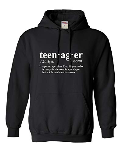 Go All Out Medium Black Adult Definition of Teenager Funny Teen Sweatshirt Hoodie