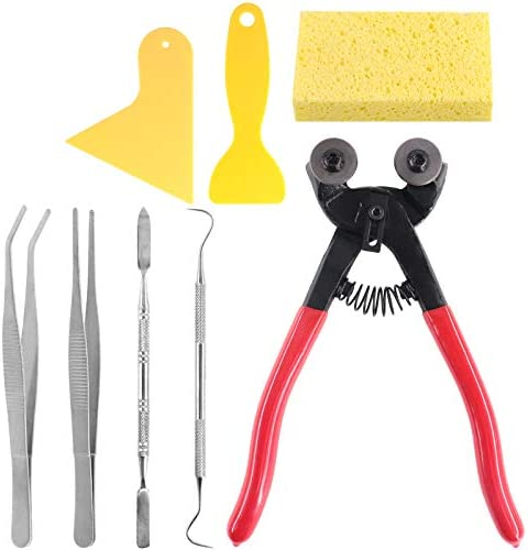 Keadic 8 Pieces Mosaic Making Supplies Tools Set Including Scrapers Tweezers Double Ended Hook product image