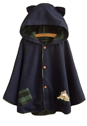 hqclothingbox Women's Cute Button Down Tweed Cat Ears Hooded Cape