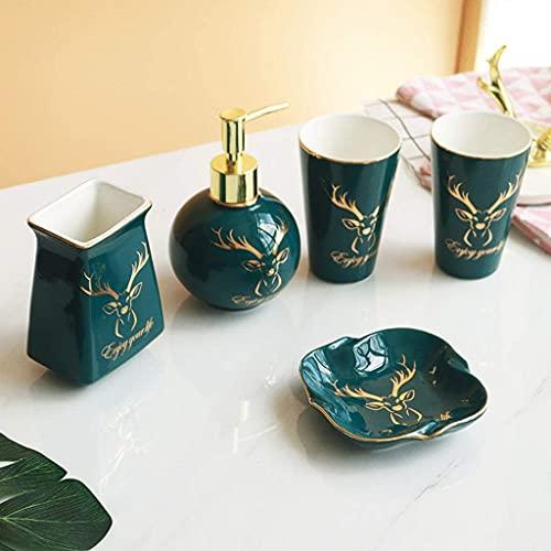 Accesorio de baño de cerámica verde de 5 piezas Completa con el dispensador de loción / bomba de jabón Soporte de cepillo de dientes Tumbler Mini Bandeja de almacenamiento Dorado Ciervo Cabeza Decorat