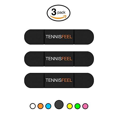 Tennis Feel Clipme • Premium Vibrationsdämpfer • Dämpfer sitzt fest am Tennisschläger • 3er-Pack (Schwarz)