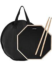 ammoon 12 Inch Drum Practice Pad, Pad de Prácticas, Con Baquetas, Bolsa de Transporte, práctica almohadilla de batería Transporte para Entrenamiento(negro)