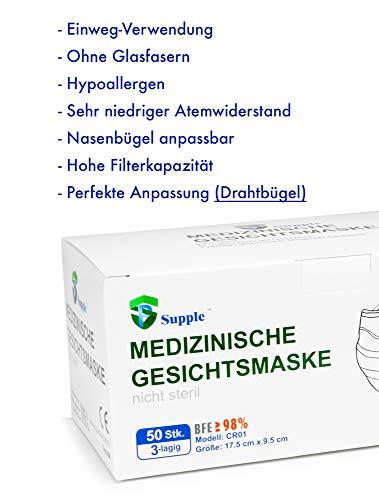 100 Stück Einmal Mundschutz + 10 Stück GRATIS – Einweg Mundbedeckung aus Vlies (Versand aus Deutschland) (100 Stück + 10 Gratis) - 5