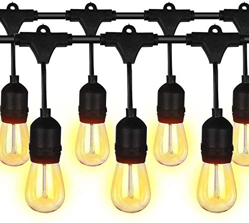 Guirnaldas Luces Exterior 49ft/15M Impermeable IP65, S14 Guirnaldas Bombillas Luminosas con 15+1 E27 LED Bombillas Perefcto para Fiesta Boda Jardín Patio Cafetería Navidad Cobertizos (1 PACK)