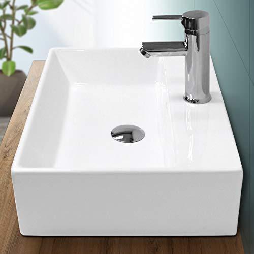 ECD Germany Waschbecken Waschtisch 515x360x130 mm aus Keramik Weiß inkl. Ablaufgarnitur für Waschbecken mit Überlauf Aufsatzbecken Aufsatzwaschbecken Aufsatzwaschtisch Waschschale Spülbecken Becken