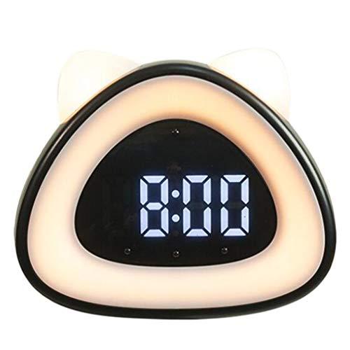 OSALADI Luces LED de Noche de Gatito Despertador con Pantalla de Tiempo Control de Voz Lámpara de Noche de Carga USB Adorable Lámpara de Gato para El Dormitorio de Bebé