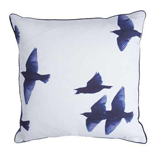 Walra sierkussen Blue Birds 45 x 45 cm wit/blauw
