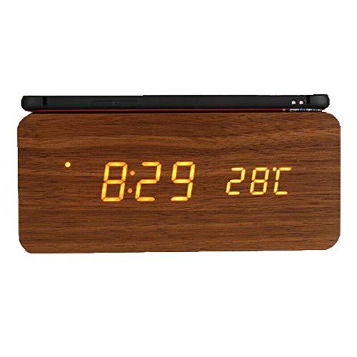 RENQIAN Wireless Charging Pad Compatibel met houten wekker met Samsung hout LED digitale klok Sound Control Funkt bruin