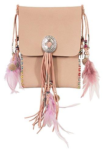 Ethno Damen Umhängetasche mit Fransen und Federn - Rosa - Crossover Handtasche Minibag