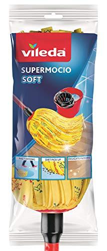 Vileda SuperMocio Soft Wischmop mit Stiel extra saugfähig mit 30 % Mikrofaseranteil zum leichten Entfernen von Fett und Schmutz