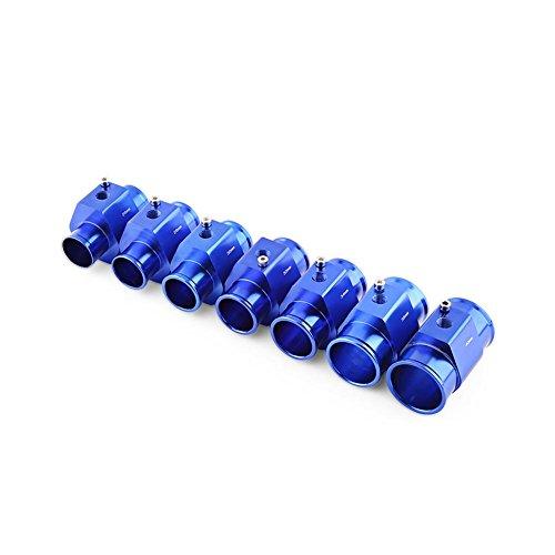 Qiilu Universal Adaptador del Sensor de temperatura de la manguera del tubo de la temperatura del agua del coche del metal Azul(40mm)