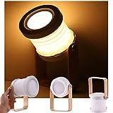 ALLOMN Lampe de Table, Veilleuse Télescopique Pliante Portable, Lampe de Lecture à LED avec Manche en bois, Luminosité sur 3 Niveaux, Luminosité Réglable, Chargement par USB, Soin des Yeux