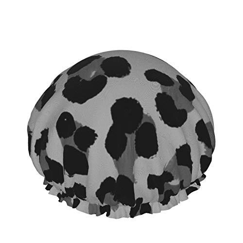 Gorro de ducha impermeable de doble capa reutilizable gorro de ducha gorras de baño, leopardo animal guepardo pelo largo protección del medio ambiente sombreros para damas y niñas Spa Salon