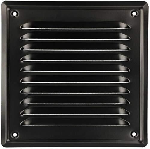 KOTARBAU® Grille de Ventilation 165 x 165 mm Noir En Acier Galvanisé Grille Daération avec Moustiquaire Résistante à la Corrosion