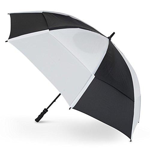 GustBuster Pro Golf Gold Serie Dubbele Canopy Golf Paraplu Zwart/Wit