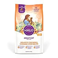 Halo Natural Dry Cat Food, Non-GMO, Premium Whole Meat,Supports Eye and Heart Health, Adult Recipe, Chicken and Chicken Liver