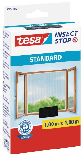 tesa® Insect Stop STANDARD Fliegengitter für Fenster - Insektenschutz zuschneidbar - Mückenschutz ohne Bohren - Fliegen Netz anthrazit, 100 cm x 100 cm