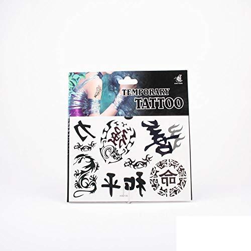 *Tattoos schwarze chinesische Schriftzeichen und Drachen in Tribalstil mit verschiedenen Verzierrungen 01-00016