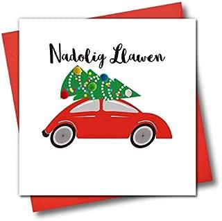 Welsh Language Embellished Christmas Greeting Card, Nadolig Llawen, Happy Christmas, Tree On Car