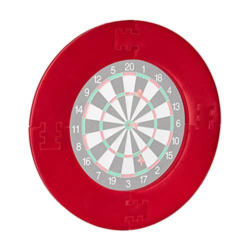 Relaxdays Unisex– Erwachsene Dart Catchring R7, 4-teilig, Schutzring für 45 cm Dartscheibe, stabiler Wandschutz, EVA, Gesamt-Ø 72 cm, rot, 72 x 72 x 3 cm