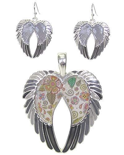 Fashion Jewelry ~ Graffiti Art Style Angel Wings Pendant and Earrings Set for Women Teens Girlfriends Birthday Gifts