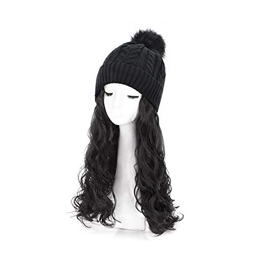 Wig Hat New Winter Knit Hat Cap With Hair Wig Women Winter Warm Stretch Knitted Cap Quickly Change Hair Style Free Long Curly Hair 50CM Baseball Hats with Hair