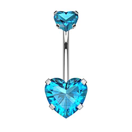 beyoutifulthings Mujer Hombre Niños Unisex Acero Inoxidable Azul Cubic Zirconia
