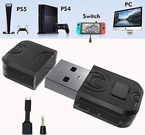 AQCTIM PS5 Adaptador Audio Dongle USB para PS5/PS4/Switch/Mac/PC Win10 Receptores Transmisores de Audio Inalámbricos Bluetooth