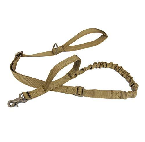 Bungee Dog Leash Tactical Military Police K9 Dog Leash Nylon Adjustable 2 Control Handle Tactical Leash for Dogs Quick Release Military Dog Leash (Brown)
