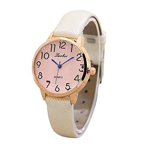 Scpink Relojes de Cuarzo de Las Mujeres Reloj de Pulsera Simple dial Digital Reloj de Las señoras de Cuero Moda Adolescente Reloj de Pulsera único Reloj Relojes Elegantes Casuales (Blanco)