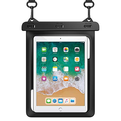 """HeySplash Universal Waterproof Tablet Case, Underwater Tablet Dry Bag with Lanyard Compatible with iPad Mini 2019/4/3/2, Samsung Galaxy Tab E, Tab S3, Fire HD 8, Fire 7, Up to 10"""" - Black"""