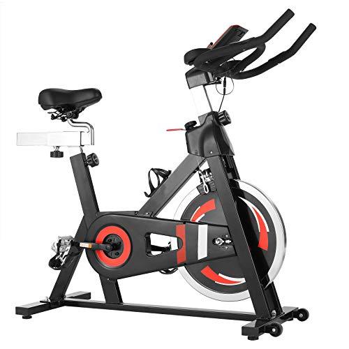 CAROMA Bicicleta estática de casa para spinning profesional, con pantalla LCD, manillar ajustable y asiento de fitness (negro)