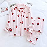 FYMIJJ Conjunto de Pijama,Ladies Pajamas Set 100% Gauze Cotton Cartoon 2PcsShirt Pants Comfort Fresh and Nature Women,12,M