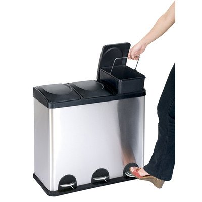 The Step N' Sort, 3 Compartment 12 Gallon/45 Litre Trash and Recycling Bin