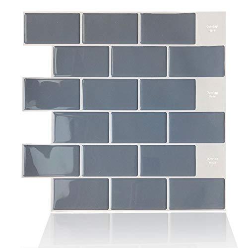 ENCOFT 6 Stück Fliesenaufkleber 3D Badezimmer Küche Backsplash Fliesensticker Aufkleber Fliesen 100% Wasserdicht Antifouling Sauber Wischen 30.5x30.5 cm