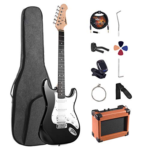 ADM Electric Guitar Beginner Kit 39 Inch Full Size Guitar Package with Amplifier, Bag, Strap, String, Tuner, Cable and Picks (Black)