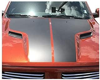 IchthusGraphics Dodge Ram 1500 Hood Decals Compatible with HEMI 5.7 Sport SRT RT Rebel Accessories Blackout Vinyl | Dual Racing Stripes | Truck Car Body Graphics | Stickers Car Wrap