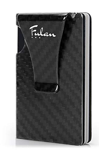Fulan超軽量マネークリップクレジットカードホルダーRFIDブロックミニマリスト財布