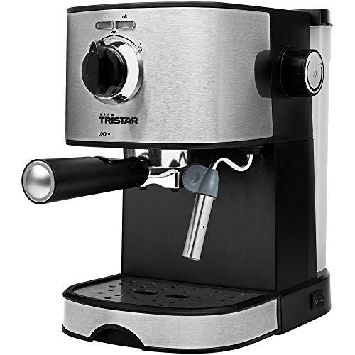 Tristar CM-2275 Cafetera Espresso, 850 W, 1.2 litros, Acero Inoxidable, Negro