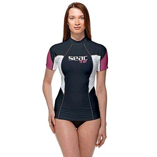 Camiseta preteccion solar Mujer para Snorkeling y Natación con Protección UV, Mujer, Azul/Rosa (Fucsia), XS