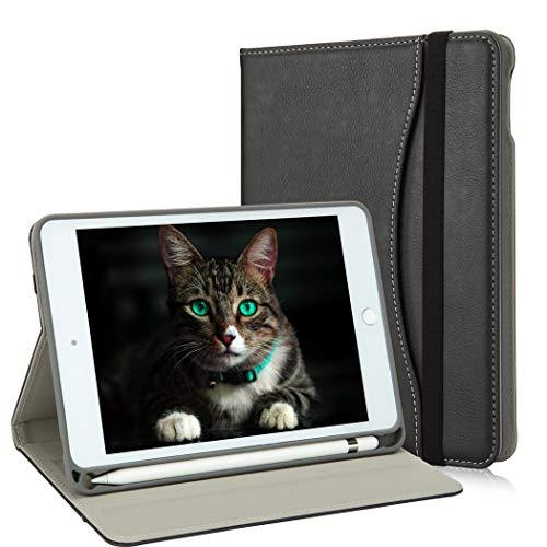 NewiPadMiniCase5thGenerationwithPencilHolder-MiniiPad4LeatherStandFolio-WalletPocket-HandleStrap-SoftTPUBackCoverAutoSleep/Wakefor7.9InchiPadmini4/5(Black)