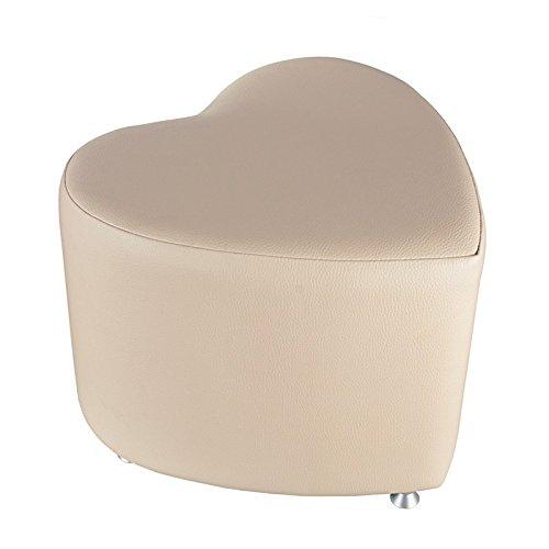 Kaikoon Pouf – Pouf Cube Forme de cœur Crème avec Patins en Aluminium