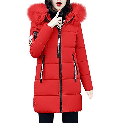 TWIFER Damen Feste Beiläufige Dicker Winter Slim Down Lammy Jacke Langen Mantel (M, Rot)