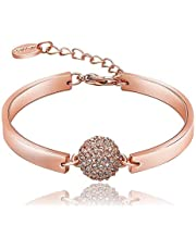 سوار الماس من عناصر سواروفسكي للسيدات مطلي بالذهب الوردي عيار 18 قيراط